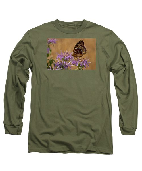 Butterfly On Bee Balm Long Sleeve T-Shirt by Shelly Gunderson