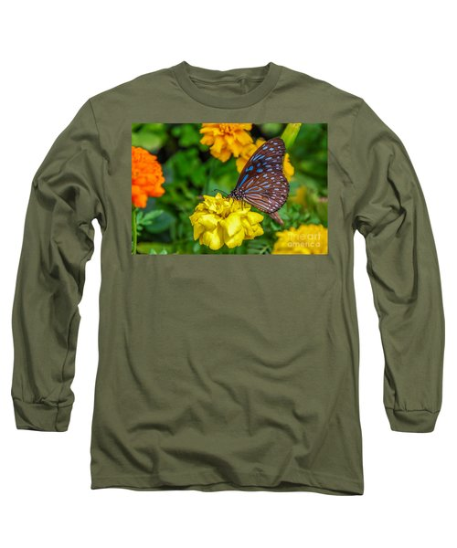 Butterfly On Yellow Marigold Long Sleeve T-Shirt