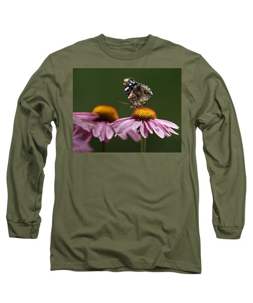Long Sleeve T-Shirt featuring the photograph Butterfly Red Admiral On Echinacea by Peter v Quenter