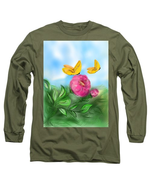 Long Sleeve T-Shirt featuring the digital art Butterfly Twins by Christine Fournier