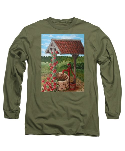 Long Sleeve T-Shirt featuring the painting By The Water Pump by Katherine Young-Beck