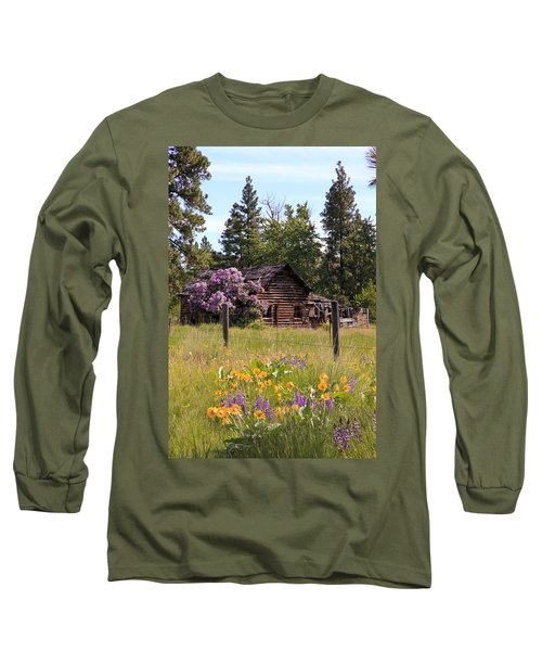 Cabin And Wildflowers Long Sleeve T-Shirt by Athena Mckinzie