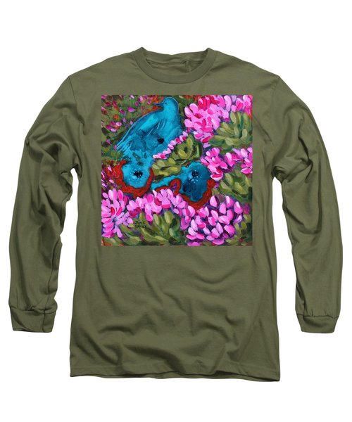 Cactus Flower Blue Bird Dream Long Sleeve T-Shirt