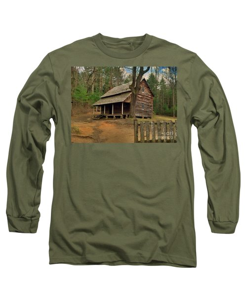 Cades Cove Cabin Long Sleeve T-Shirt by Janice Spivey