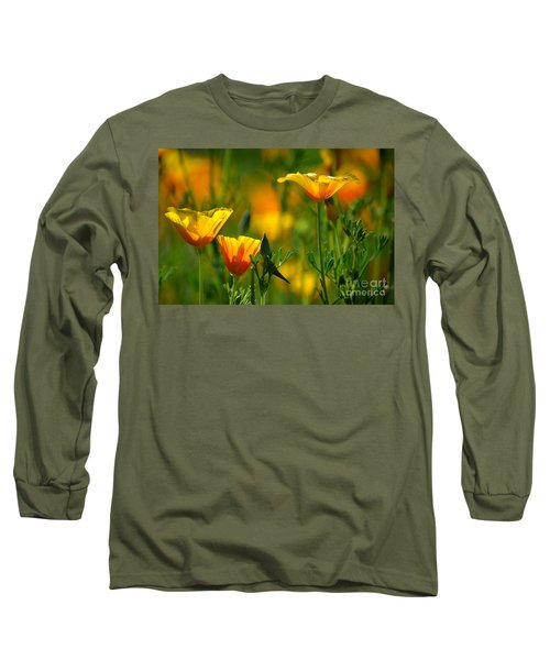 California Poppies Long Sleeve T-Shirt by Deb Halloran