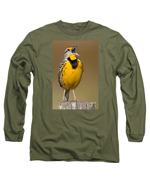 Calling Eastern Meadowlark Long Sleeve T-Shirt by Jerry Fornarotto
