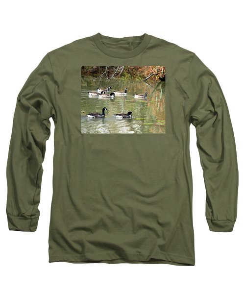 Canadian Geese Swimming In Backwaters Long Sleeve T-Shirt by William Tanneberger