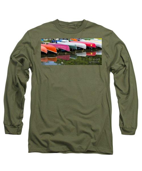 canoes - Lake Wingra - Madison  Long Sleeve T-Shirt by Steven Ralser