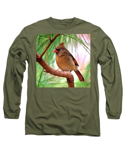 Cardinal Long Sleeve T-Shirt by Bob and Nadine Johnston