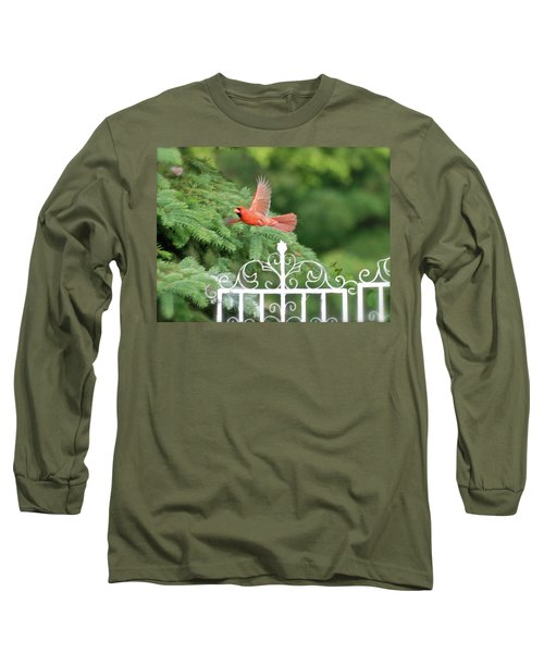 Long Sleeve T-Shirt featuring the photograph Cardinal Time To Soar by Thomas Woolworth