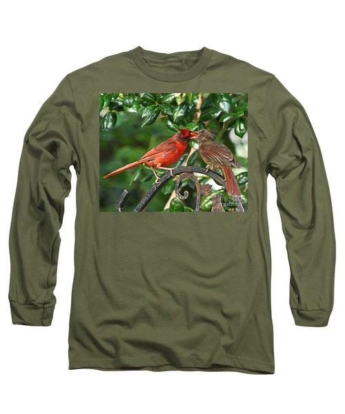 Long Sleeve T-Shirt featuring the photograph Cardinal Bird Valentines Love  by Luana K Perez