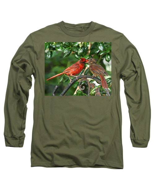 Cardinal Bird Valentines Love  Long Sleeve T-Shirt