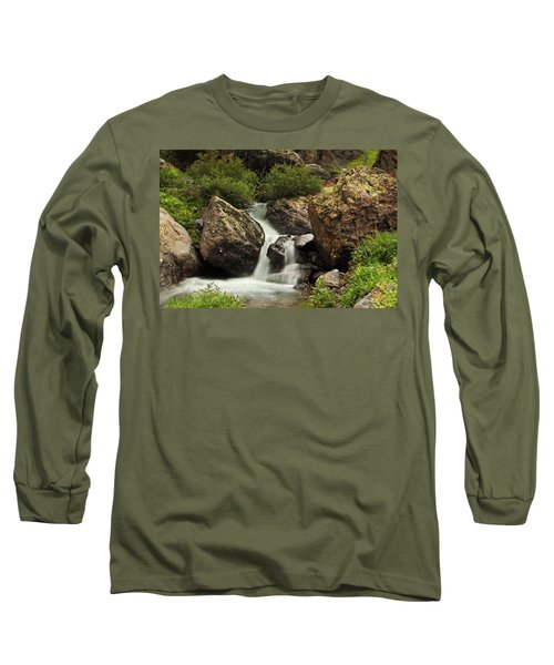 Long Sleeve T-Shirt featuring the photograph Cascade In Lower Ice Lake Basin by Alan Vance Ley
