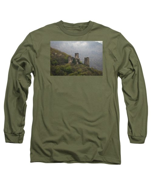 Castle In The Mountains. Long Sleeve T-Shirt by Clare Bambers