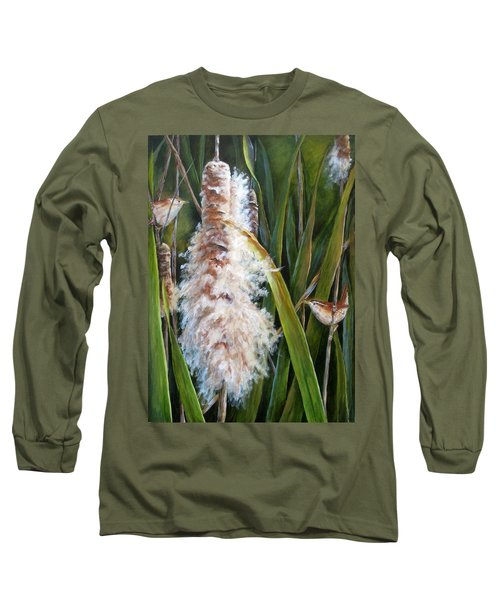 Cattails And Wrens Long Sleeve T-Shirt