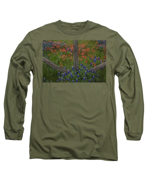 Cedar Fence In Llano Texas Long Sleeve T-Shirt by Susan Rovira