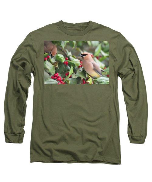 Cedar Waxwing In Holly Tree Long Sleeve T-Shirt