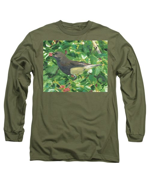 Cedar Waxwing Eating Mulberry Long Sleeve T-Shirt