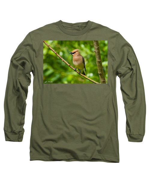 Cedar Waxwing Gathering Nesting Material Long Sleeve T-Shirt by Jeff Goulden