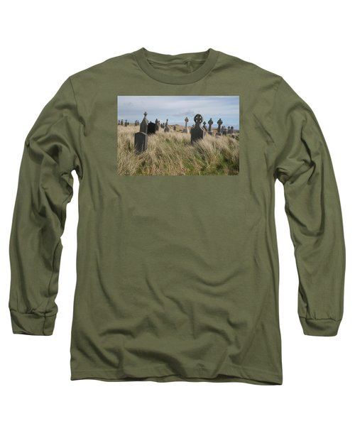 Celtic Crosses Aran Island Cemetary Long Sleeve T-Shirt by Melinda Saminski
