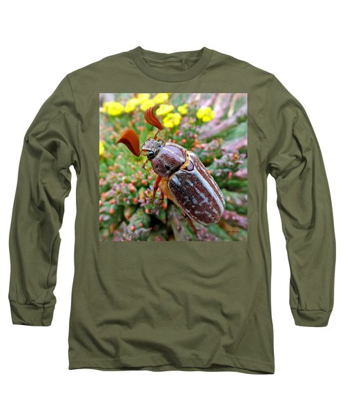 Chafer Beetle On Medusa Succulent 2 Long Sleeve T-Shirt