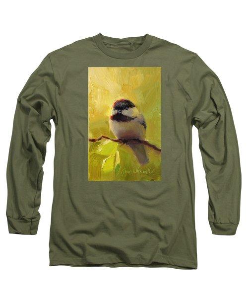 Chatty Chickadee - Cheeky Bird Long Sleeve T-Shirt by Karen Whitworth