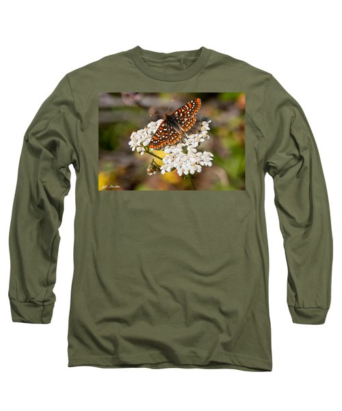 Checkerspot Butterfly On A Yarrow Blossom Long Sleeve T-Shirt by Jeff Goulden