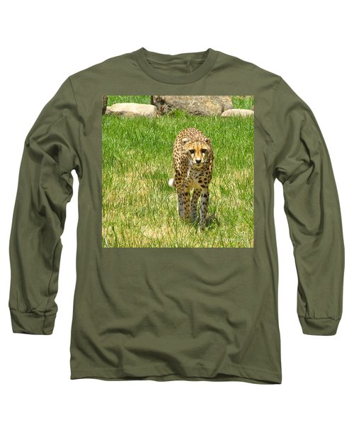 Cheetah Approaching Long Sleeve T-Shirt by CML Brown