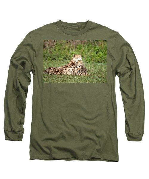 Cheetah Cub Acinonyx Jubatus Playing Long Sleeve T-Shirt