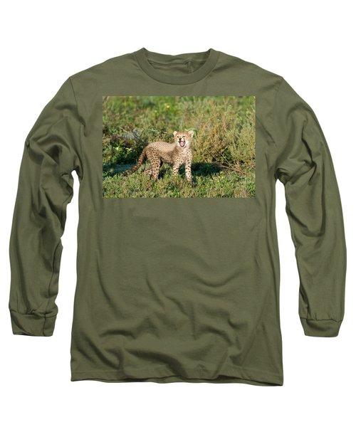 Cheetah Cub Acinonyx Jubatus Yawning Long Sleeve T-Shirt