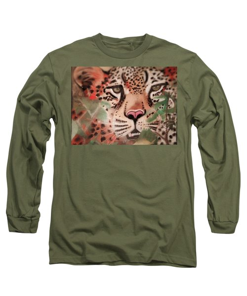 Cheetah In The Grass Long Sleeve T-Shirt by Renee Michelle Wenker