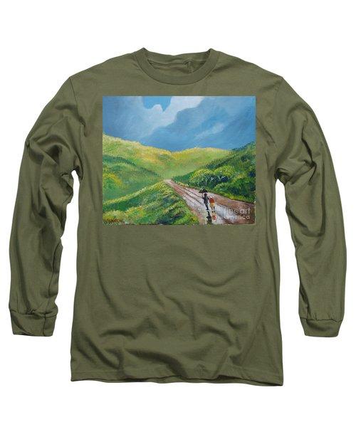 Chemin Sous Une Pluie Tropicale Long Sleeve T-Shirt