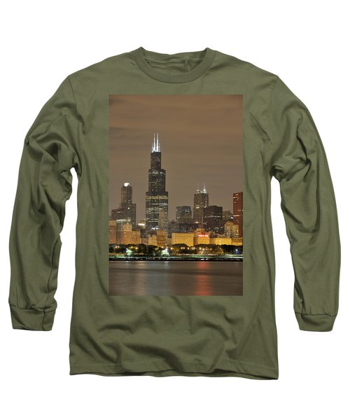 Chicago Skyline At Night Long Sleeve T-Shirt by Sebastian Musial