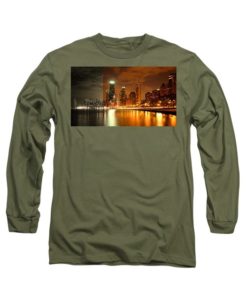 Chicago Skyline Night Amber Long Sleeve T-Shirt