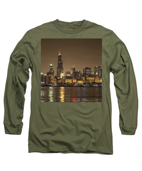 Chicago Skyline - World Aids Day 12/1/12 Long Sleeve T-Shirt