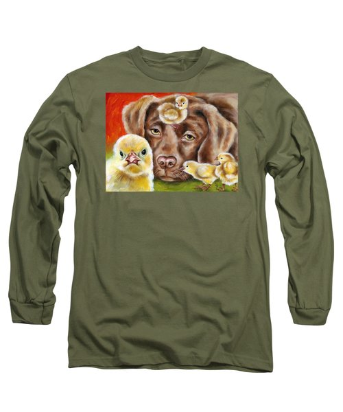 Long Sleeve T-Shirt featuring the painting Chick Sitting Afternoon by Hiroko Sakai