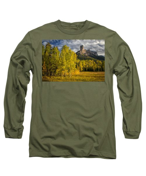 Chimney Rock San Juan Nf Colorado Img 9722 Long Sleeve T-Shirt by Greg Kluempers