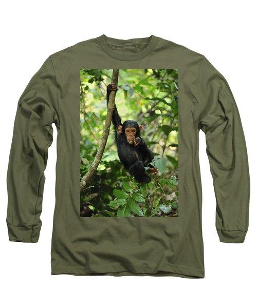 Chimpanzee Baby On Liana Gombe Stream Long Sleeve T-Shirt