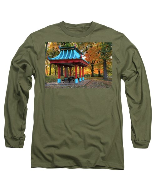 Chinese Shelter In Autumn Long Sleeve T-Shirt