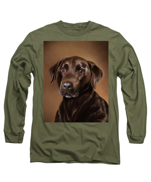 Chocolate Lab Long Sleeve T-Shirt by Michael Spano