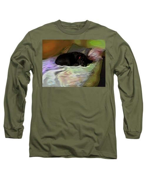 Long Sleeve T-Shirt featuring the mixed media Chopper Dreams Of Beds by Terence Morrissey