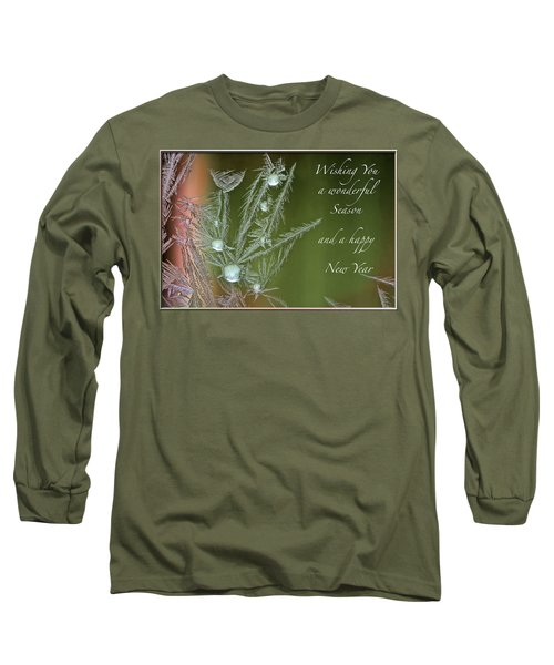 Long Sleeve T-Shirt featuring the mixed media Christmas Greeting Card Ice Flowers by Peter v Quenter