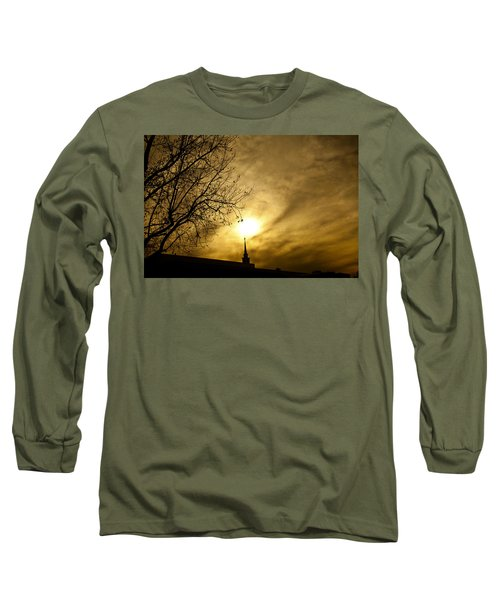 Long Sleeve T-Shirt featuring the photograph Church Steeple Clouds Parting by Jerry Cowart