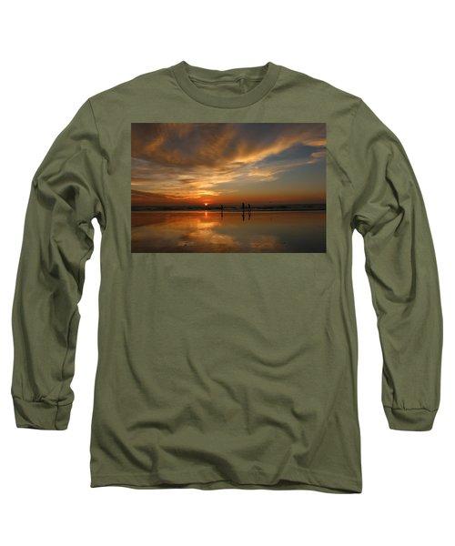 Clam Digging At Sunset -1  Long Sleeve T-Shirt