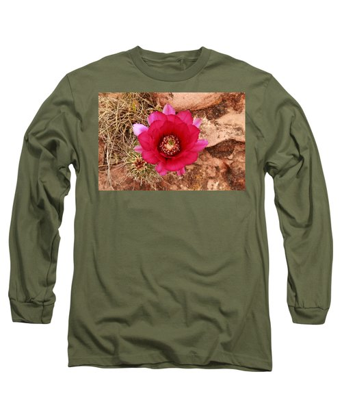 Long Sleeve T-Shirt featuring the photograph Claret Cup Cactus On Red Rock In Sedona by Alan Vance Ley