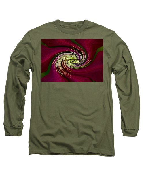 Long Sleeve T-Shirt featuring the photograph Claret Red Swirl Clematis by Debbie Oppermann