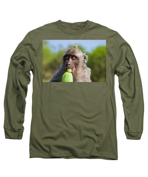 Closeup Monkey Eating Cucumber Long Sleeve T-Shirt