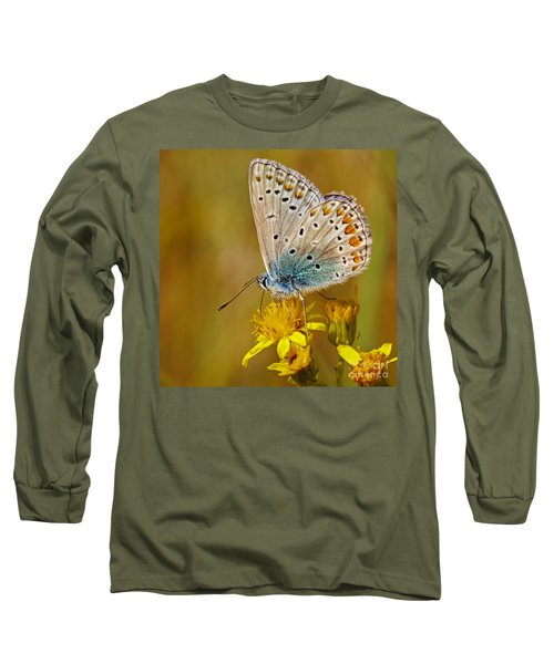 Closeup Of A Common Blue Butterfly Long Sleeve T-Shirt