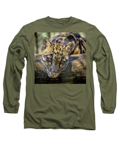 Long Sleeve T-Shirt featuring the photograph Clouded Leopard by Steven Sparks