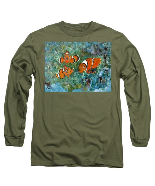 Clown Fish Art Original Tropical Painting Long Sleeve T-Shirt